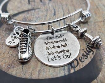 Fit Runner Bracelet Lets Go! Runner Shoe,Dumbbell & Initial Letter.Gift For Runner,Fitness Jewelry,Workout,Running Gift,Runner jewelry,Run