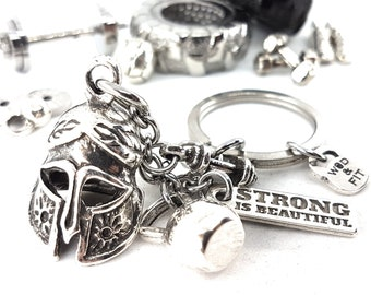 Keychain Gladiator Strength and Honor Chain Fitness Workout,Spartan Race Jewelry,Crossfit,No Pain No Gain,Fitness jewelry,Spartan Workout