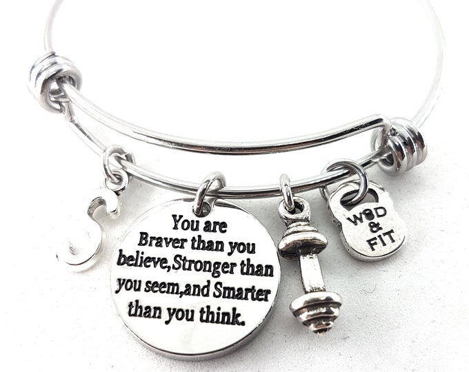 You are Braver than you believe...Bracelet Dumbbell & Initial.Motivation,Personalized,Fitness,Bodybuilding,Fitmom,Gym,Custom necklace,Gift