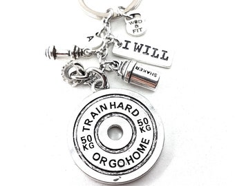 Keychain Train Hard or Go Home Shaker & Tire Workout Bodybuilder Gift,Kettlebel,Gym,Fitness Jewelry,Crosstraining,Barbell,Protein Bottle,Wod