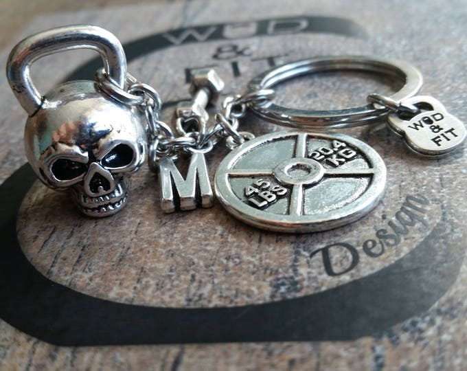 Skull Kettlebell Keychain Motivation & Initial letter.Fitness Workout Bodybuilding,Gym,Weight,Custom Keychain Personalized,Gym Jewelry Wod