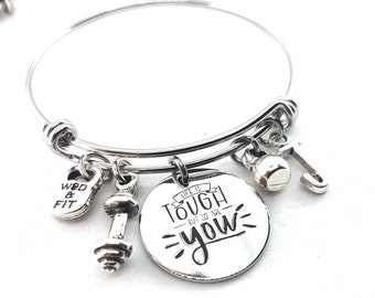 Life is Tough but so are you Bracelet,Barbell,Kettlebell & Initial Letter.Fitness,Motivational Gift,Gym Gifts,No Fear,Crossfit Girl,Mom life
