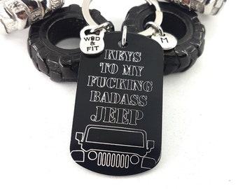 Keychain Keys To My Fucking BADASS 4x4 Military Gift - Wrangler Accessories - Offroad Gifts- Jeep Girl - Rubicon - JK - JKU - Willys - Jeep