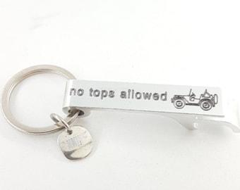 No Tops Allowed Abrebotellas 4x4 Beer en Aluminio Parrilla, Cerveza - Off road Accessorios - Offroad regalo - Wrangler - Regalo Jeep Love