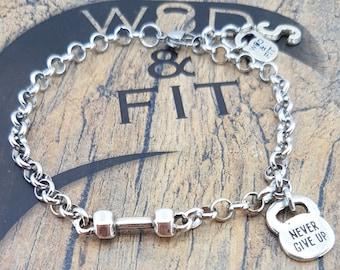 Bracelet Dumbbell Workout Motivation Bodybuilding Coach gift,Fitness,Women Bracelet,Fit Mom,Fitness Girl,Gym Gifts,Barbell Gift,Sport Gift