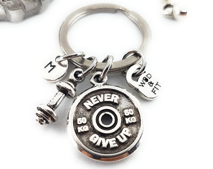 Keychain Power Snatches Workout Motivational Weight Plates 50kg, Barbell & Initial Weight lifting Gift,Fitness Jewelry Bodybuilding,Crossfi