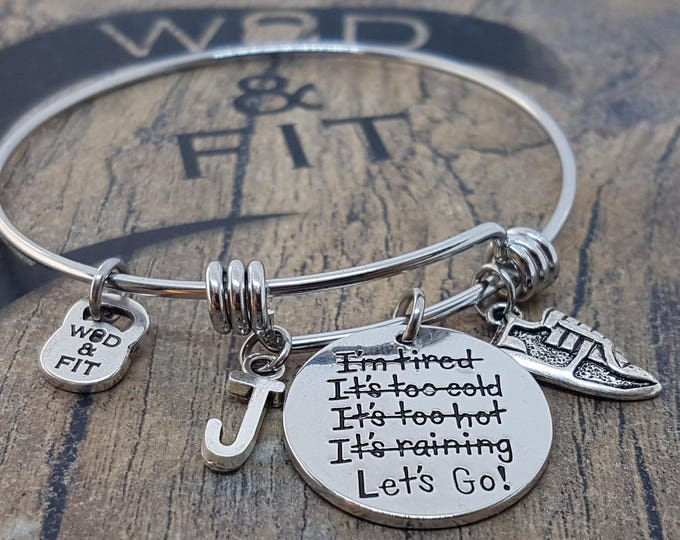 Bracelet Lets Go! Weight & Initial Letter.Motivation,No excuses,Fitness Gift,Workout Jewelry,Kettlebell,Running Gift,Inspirational Gift,Wod