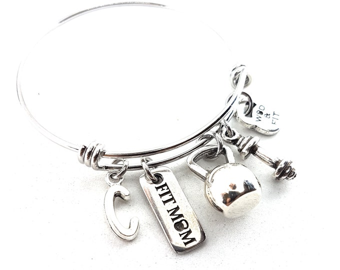 Bracelet Fitness Betty Workout Kettlebell,Dumbbell, Motivation & Initial.Gym Gifts,Bodybuilding,Coach Gift,Fitmom,Workout Jewelry,Crosstrain