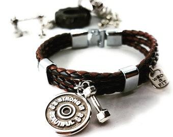 Leather Fitness Bracelet Greg FitPlate Workout Manubrio Motivation -Bodybuilding - Gym Coach - Crossfit Gift - Fitness Bracelet - Motivation
