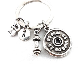 Keychain Power Snatches Workout Motivational Weight Plates 50kg, Barbell & Initial Weight lifting Gift,Fitness Jewelry Bodybuilding,Crossfit