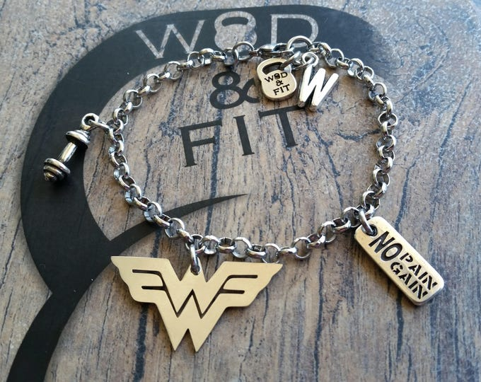 Bracelet Wonder Fit Workout Motivation & Initial Bodybuilding Fitness Jewelry Motivational Gift,Women Fit Mom Fit Girl Wonder Woman Workout