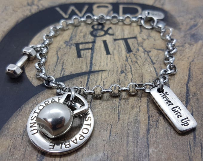 Bracelet Fitness Helen Kettlebell  Workout Motivation Girl Barbell,Gym,Bodybuilding,Fitness jewelry Coach,Motivational Fitmom Wod and Fit