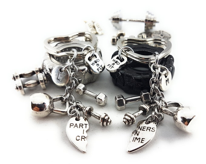 Couple Keychain Partners in Crime Kettlebell Workout,Dumbbell,Barbell,Initials.Bodybuilding,Gym Gift,Fitness Jewels,Crossfit Partner gift