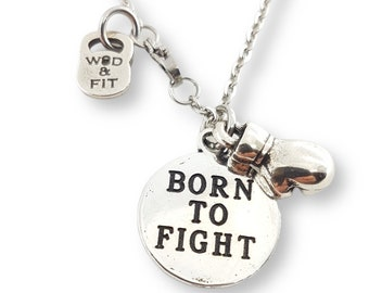 Necklace Born To Fight Boxing Glove Boxing Edition Boxing glove pendant - Boxing Coach Gift - UFC - MMA - Boxing lover gift - Wod and Fit