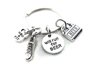 Keychain I Runner For... your favorite Weakness and Motivation. Runner gift,Running Jewelry,Pizza,CupCakes,Beer,Chocolate,Runner Life,Sport