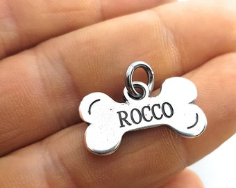 Bone Custom Silver Plated Metal Tag for Small Pet,Bracelet,Pendent,Engraved NO LASER,Dog,Cat,Bone Tag,Bone Dog, Personalized Bone,Small Dog
