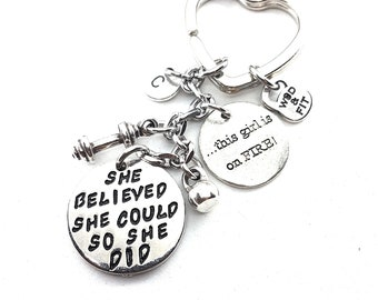 Dumbbell Keychain She Believed She Could So She Did Initial Letter & Motivation,Gym,Fitness jewelry,Workout Gift,motivational jewelry,Sport