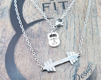 Necklace with Flat Barbell.Fitness,Bodybuilding,Gym Gift,Bikini fitness,WeightLifter,Powerlifter,fitness jewellery,Women gift,funny fitness