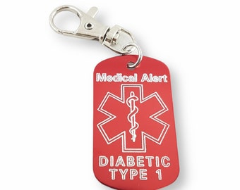 Emergency Medical Alert Customizable Engraved Aluminum 50x30 NO LASER - Medical Alert Keychain - Diabetes - Allergy - Medical Condition Info