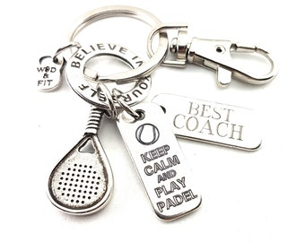 Key ring Padel-Tennis Custom Motivational Word,Ring & Initial.Custom Gift,Padel Tennis gift,Gift for Padel,Padel Tennis Coach,Padel Gift
