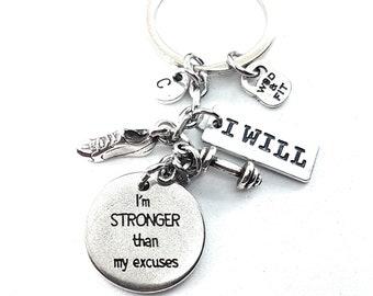 Keychain  Lets Go! I'm Stronger Running Shoe Dumbbell,Initial Letter & Motivation,Gym,Sport,Fitmom,Runner Gift,Half Marathon,Runner Jewelry