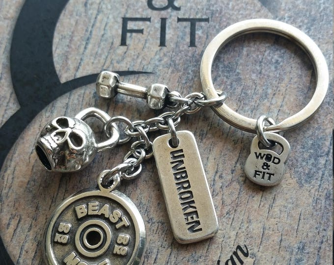 Keychain Mat Skull Open Workout Motivational FitPlate,Kettlebell,Dumbbell.Fitness Bodybuilding,Joyas Motivación Wod Gym Coach Joyas Fitness