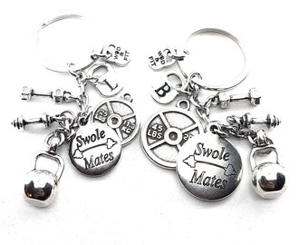 Couple Keychain Swole Mates & Weight Plate 45lbs+25lbs Kettlebell Fitness Jewelry Crossfit,Gym,Couples Gift,Bodybuilding,Fitness,Gym Partner