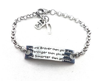Bracelet Motivation You are Braver than you believe..& Initial leter. Workout Personalized,Fitness,Bodybuilding,Gym,Custom necklace,Fit Mom