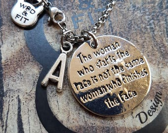 Necklace The woman who start the race is not... & Initial.Motivation,Personalized,Fitness,Bodybuilding,Gym,RunnerJewelry,Inspirational Gift