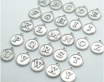 Initial letter Circular 12mm charm,Metal Silver Plated,Initial Letter Add On Initial Charm,Letter Charms,Bracelet letters,Keychain,Necklace
