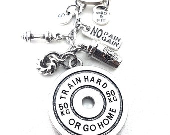 Keychain Train Hard or Go Home Coffee & Tire Workout.B Bodybuilder Gift,Kettlebel,Gym,Fitness Jewelry,Weight Plate,Barbell,Coach gift,Sport