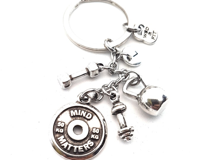 Featured listing image: Keychain Luke Workout Motivational Weight Plate,Kettlebell,Dumbbell,Barbell & Initial,Bodybuilding,Fitness Jewelry,Crossfit Gift,Fit Girl
