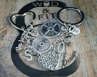 Couple Keychain Partner Workout Weight Plate 25lbs & 45lbs Dumbbell,Initial Letters.BBF,Bodybuilding Jewelry Fitness Love Gift Partner Wod