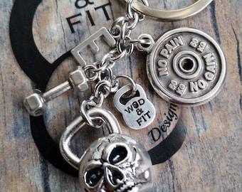 Keychain Fatal 40 Workout Skull Kettlebell Motivational FitPlateDumbbell & Initial letter.Fitness Gym,Strongman,Gym Jewelry Killer Wod Cross