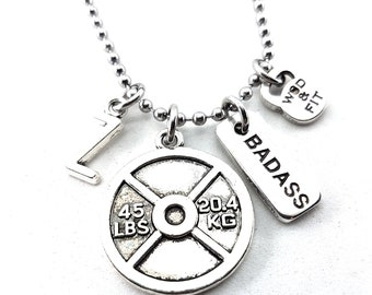 """Necklace Fitness The Twins Workout Weight Plate 45lbs,""""Badass/Go Hard"""" Iniciál letter Bodybuilding,Motivational Jewelry,Coach Fit Girl Cross"""