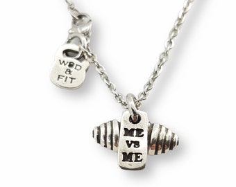 Barbell Motivational Gym Necklace With Barbell & Me vs Me - Bodybuilding Jewels - Gym Motivation - Fitness Gift - WeightLifting - Crossfit