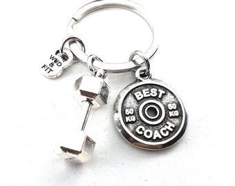 Keychain Big Clean Complex Workout Dumbbell & Weigth Plate Bodybuilding Jewelry Fitness Gift,Fit Girl,No Pain,Coach Gift,Gym Gift,Crossfit