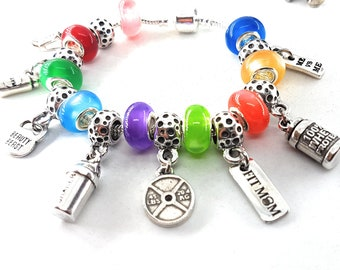 Charms Panda Workout For Pan Bracelet.Fitness Charms,Kettlebell,Dumbbell,Barbell,Gym,Bodybuilding,Fitness,Fitmom,Crossfit,Gym Gift,FitGirl