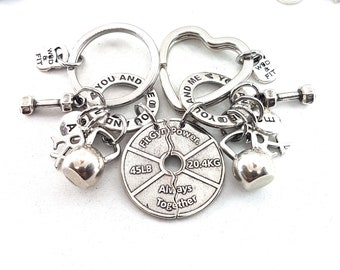 Couple Keychain I love my life You and Me FitPlate Always Together Rx Workout.Kettlebell,Dumbbell,Initial.Bodybuilding,Fitness,Gym,Crossfit