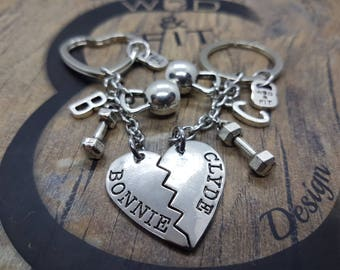Couple Keychain  Bonnie & Clyde Kettlebell and Dumbbell Workout Initial Letters.Boy Friends gift,Fitness,Partner Goft,Me Valentine,Cross Fit