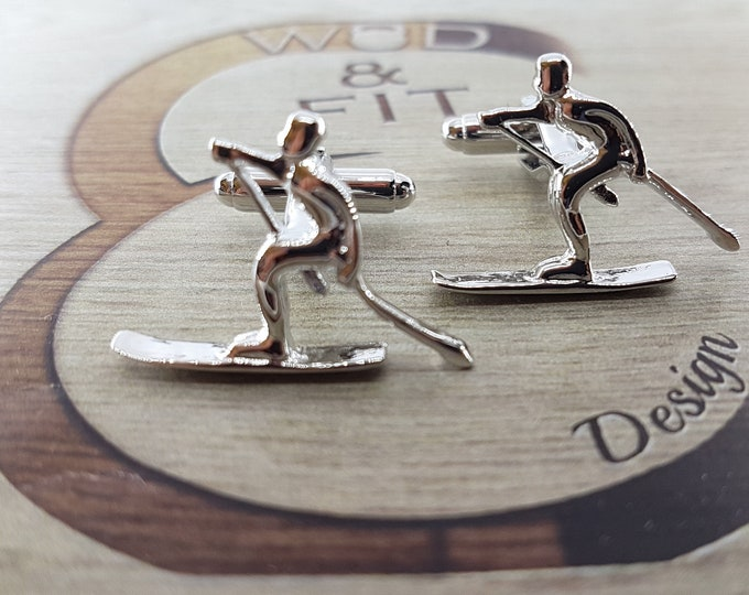 Skiing Cufflinks,Ski,Sport Gift,Coach Gift,Motivational,Dad Gift,Father Gift,Sport Cufflink,gift groom,Gift marriage,Kayak Gift Father's day