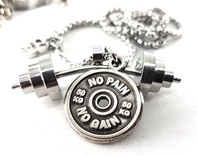 Necklace Power Clean Workout Barbell & Motivational Weight Plate Bodybuilding Jewelry,Gym Gift,WeightLifting,Strongman,Fitness Jewelry,Sport