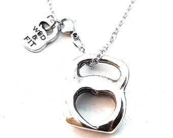 Necklace Kettlebell Heart,Bodybuilding,Fitness Jewelry,Coach Gift,CrossFit,Gym Gift,Fit Mom,Fit Girl,Gym Jewelry,Crossfit Girl,Woman Gift,