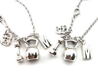 Couple Kettlebell Workout Necklace,Dumbbell Hex & Initial letter.Workout Jewelry,Fit mom,Fit girl,Bodybuilding,Custom necklace,Couples Gift