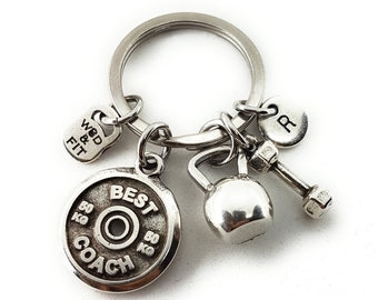 Keychain Rankel Workout Motivational Plate,Kettlebell,Dumbbel & Initial.Fitness,Bodybuilding,Coach Gift,weight lifting,Gym jewelry,Fit Girl