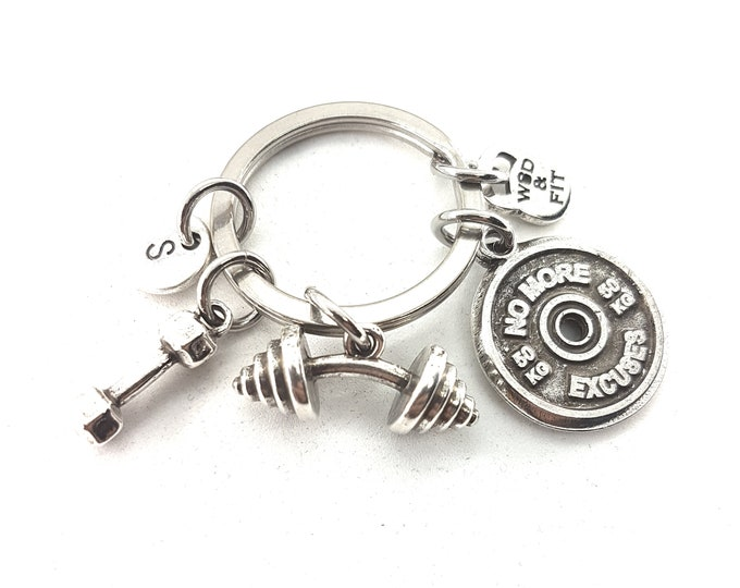 Keychain Thruster Workout Motivational Plate,Barbell,Dumbbel & Initial.Fitness Jewelry,Bodybuilding,Coach Gift,weight lifting,Fit Girl Cross