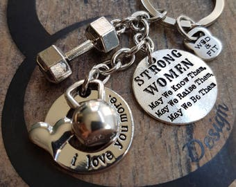 Keychain I Love You More Kettlebell,Dumbbell & Motivation Fitness jewelry,Bodybuilding,Gym Gifts,Motivational Gift,Crosstraining,Crossfit