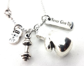 Necklace Jake Boxing Barbell & Motivation Workout,Fitness Jewelry,Bodybuilding,Motivational Jewelry,Coach gift,boxing gift,No Pain No gain