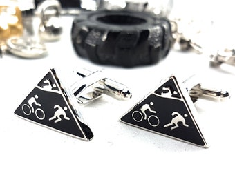 Cufflinks Triathlon. Bike Run Swiming Coach Gift, Motivational, Bodybuilding,Gym, Dad Gift,Father Gift,Fitness, Bodybuilder, Sport Cufflink