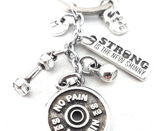Keychain No Pain No Gain  FitPlateWorkout,Dumbbell,Kettlebell,Motivation & Initial.Bodybuilding Gift,Fitness Jewels,Gym Gift,Crossfit Gift